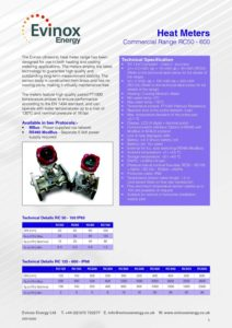 Evinox Commercial Heat Meter Range Data Sheet