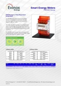 Evinox Electricity Meter Range Data Sheet